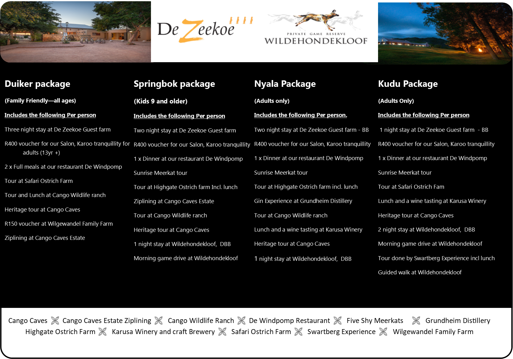 Wildehondekloof DeZeekoe accommodation and activity packages