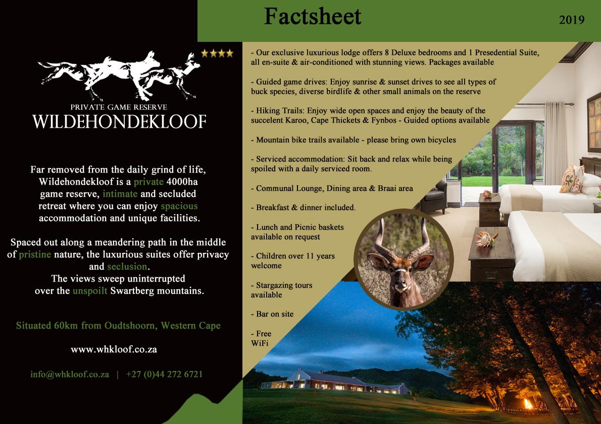 Wildehondekloof Oudtshoorn Game Reserve Fact Sheet